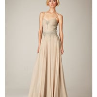 (PRE-ORDER) Mignon Spring 2014 - Champagne Beaded Chiffon Low Back Prom Dress