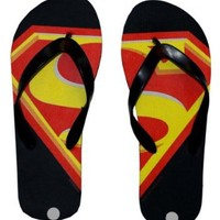 Superman Logo DC Comics Superhero Flip Flops Sandals, Medium (Shoe Size 8/9)