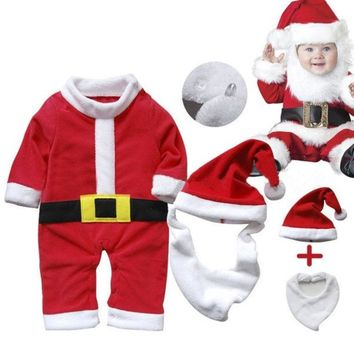 ONETOW Newborn Tollder Winter Warm Outfit Santa Claus Baby Rompers Long Sleeve Christmas Costume 3pcs kids Bodysuit = 1945898500