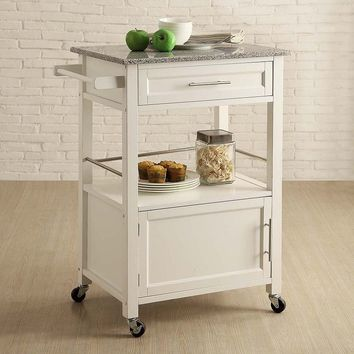 Linon Mitchel Granite Top Kitchen Cart (White)