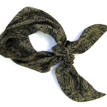 Head Scarf Bandana Hair Accessory Hair Covering Tie Up Hair Scarf Turband Head Wrap Olive Green Black Womens Small Gift Ready to Ship