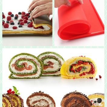 Brand New Grilled Rectangular Shape Silicone Swiss Cake Mat Chocolate Rolls Sushi Mold Pizza Baking Pan Dough Roller DIY Tool