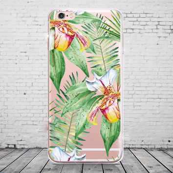 Transparent Clear Soft Silicone TPU Plants Leaves Phone Back Cover Case For iPhone 6 6s