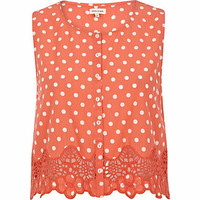 Coral polka dot button through crop top