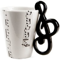 BUYNEED Lovely Fashion Unique Cool Coffee Milk Ceramic Tea Mug Cup With Guitar Musical Note Best Gift(Black)