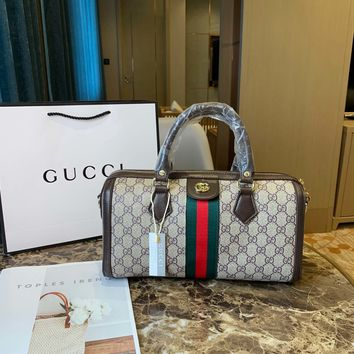 HCXX 19Oct 008 Gucci Canvas Shoulder Strap Crossbody Pouch Handle Fashion Weekend Duffel Bag 31-12-18cm