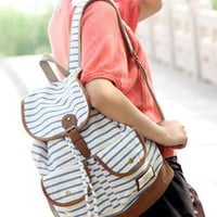 Style Retro Strip Print Backpack