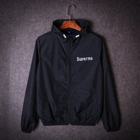 Supreme Fashion Zipper Sport Running Cardigan Jacket Coat Windbreaker