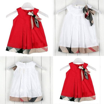 Baby Girls Kids Sleeveless Princess A-line One-pieces Plaids Dress Skirt Clothes = 1958272836
