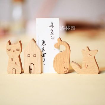 Free shipping Graduation gift 4 cartoon style wood business card notes message clip card holder note holder wood message holder