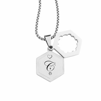 Double Hexagram Initial Necklace With Cubic Zirconia By Pink Box - C
