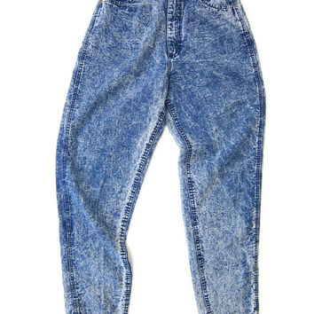 80s LEE Acid Wash Jeans High Waist THIN Denim Cotton Pants Hipster Stone Wash Mom Jeans Hip Hop Urban Baggy Jeans Vintage Womens Medium