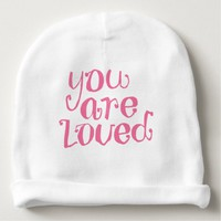 You Are Loved Typography Baby Beanie