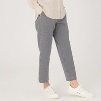Women Stretch Seersucker Easy Tapered Pants Black Check