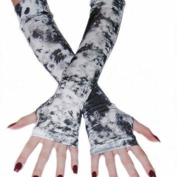 Aftermath- arm warmers post apocalyptic steampunk fingerless gloves gothic goth punk grunge vampire gray tie dyed bohemian costume