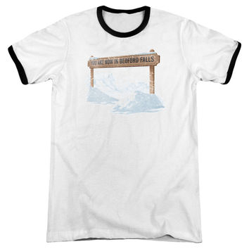 Its a Wonderful Life Bedford Falls White / Black Ringer T-Shirt