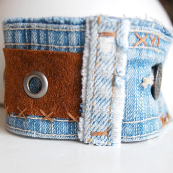 Upcycled Denim and Brown Leather Cuff Bracelet