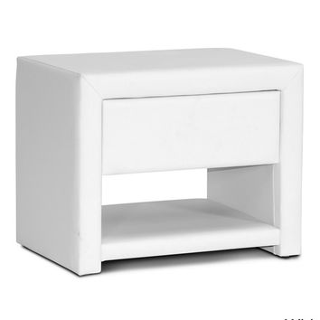 White Vegan Leather Nightstand