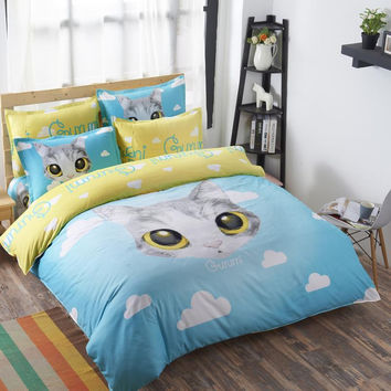 Cat in the Sky with Clouds Bedding Set