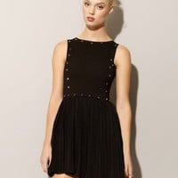 Studded pleated dress [Hob1008] - $50 : Pixie Market, Fashion-Super-Market
