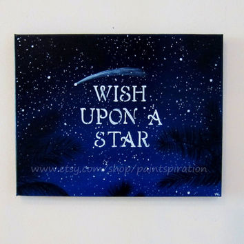 Inspirational Quotes Art Wish Upon A Star Original Acrylic Canvas Painting 11x14 - Beach Nursery Decor Wall Art Artwork
