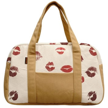 Women's Lips Pattern Beige Printed 100% Cotton Canvas Duffel Travel Bags WAS_19