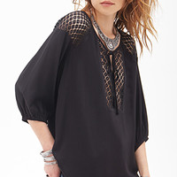 FOREVER 21 Crochet-Paneled Twill Top Black