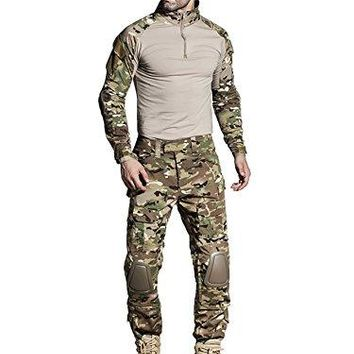 SINAIRSOFT US Army G3 Combat Uniform Shirt & Pants with Knee Pads Military Airsoft Hunting Apparel Gen3 Multicam Camo BDU LY0102 (MC, XL)