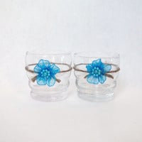 Candle Holder Crimped Glass Votive Tealight  with Jute Twine and Turquoise Organza Flower Set of 2 Rustic Shabby Chic Beach Wedding Decor