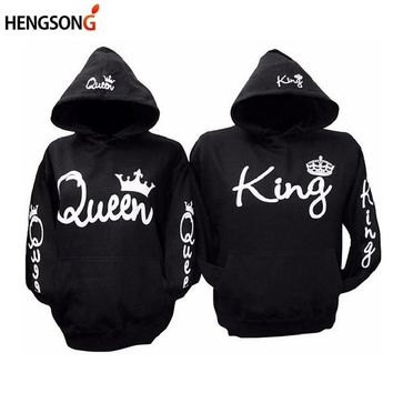 Cool QUEEN KING Hoodies Lover Couple Sportswear Tracksuits Gym Fitness Trainning Exercise Sweaters Women Unisex Black SweatshirtsAT_93_12
