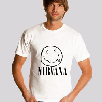 Nirvana   shirt Logo1 Smiley Face Kurt Cobain  shirt Nirvana Smiley Face  shirt   Print  S-2XL