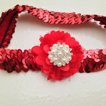Silver and Red Sequins baby headband--Newborn rhinestone chiffon flower headband--sequins headband