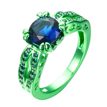 Gorgeous Blue Sapphire Wedding Rings For Women Fashion Jewelry Vintage Green Gold Filled Round Zircon Ring Anel RC0028