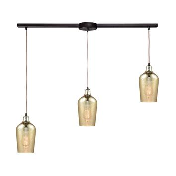Hammered Glass 3 Light Linear Bar Fixture In Oil Rubbed Bronze With Hammered Amber Plated Glass
