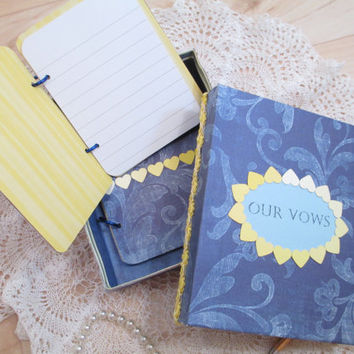 Wedding Vow Book Set - Navy Blue- Yellow with Ombre Hearts -with Matching Keepsake Box – Personalized