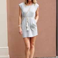 Casual Striped T Shirt Dress -Grey and White Striped Dress- $75.00 | Hand In Pocket Boutique