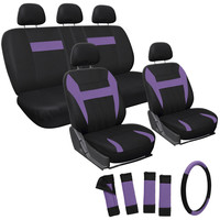 17pc Set Purple Car Seat Cover Steering Wheel Belt Pad