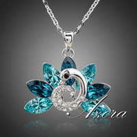 Peacock White Gold Plated  Austrian Crystal Pendant Necklace