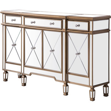 """Contempo 60""""x14""""x36"""" Mirrored 3-Drawer & 4-Door Cabinet, Gold"""