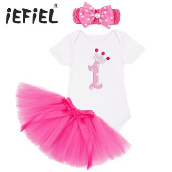 iEFiEL Newborn 1 Year Birthday Dress for 1st First Baby Kid Girl Birthday Clothing Infant Princess Baby Girl Party Tutu Dress