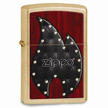 Zippo Leather Flame Gold Dust Lighter