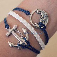 ancient silver navy blue anchor and mermaid bracelet, woven leather, lovely sisters friendship gift