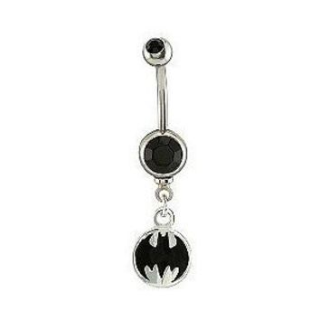 DC Comics Belly Ring with Black Stone Accent and Batman Char... - Polyvore