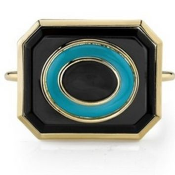 House of Harlow 1960 Jewelry Art Deco Bangle in Turquoise