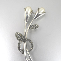 Sterling Marcasite Flower Brooch. Cala Lilly Flower Sterling Silver Marcasite Brooch Pin.
