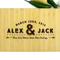 Personalized Engraved Cutting Board, Names and Date, Kitchen Decor, Wedding, Housewarming, Engagement, Bride and Groom, Christmas Gift