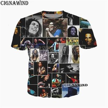 New fashion t shirt men women singer Reggae BOB marley 3D printed funny t-shirts unisex hip hop tshirt streetwear summer top tee