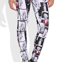 Leggings with Marilyn Monroe Photograph Print