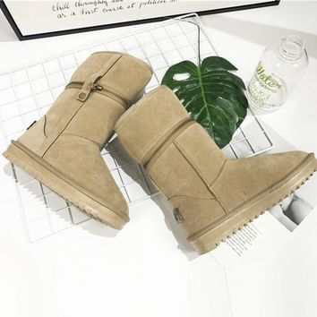 On Sale Hot Deal Winter Zippers Thick Crust Knee-length Anti-skid Cotton Shoes Boots [79792439321]