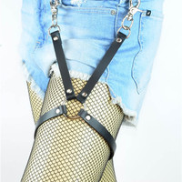 "Black X 3/4"" Wide Strap & 1"" Silver O-ring Leather Thigh Leg Harness"